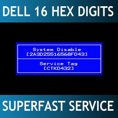 Dell 16 digits HEX Bios / hdd password reset unlock service. 24/7 fast service