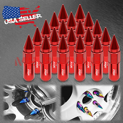 Red 20 PCS M12X1.25 Spiked Extended Lug Nuts For Nissan Rouge Altima 370z 350z
