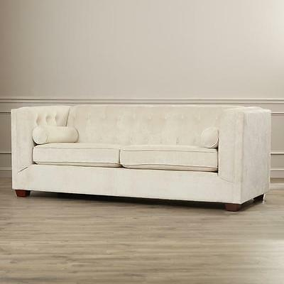 TUFTED SOFA COUCH Off White Beige Velvet Microifiber Contemporary ...