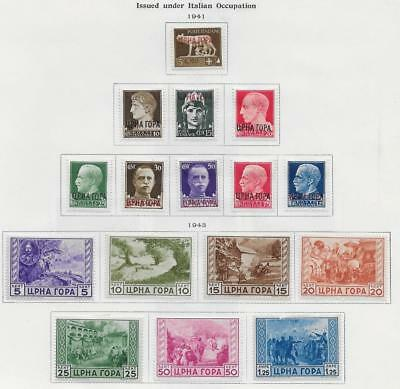16 Montenegro under Italian Occupation Stamps from Quality Old Album 1941-1943