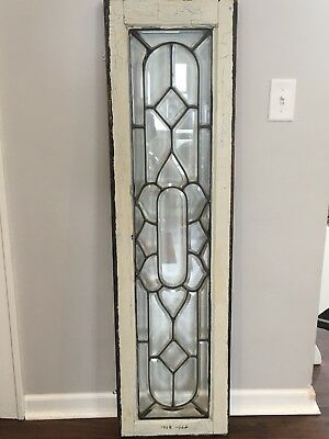 """Antique Beveled Glass Transom Window 53"""" by 14"""" w/ Painted Wood Frame"""