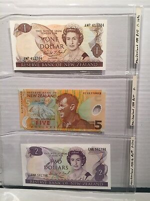 Lot Of 3 UNC New Zealand Banknotes 2 Paper, 1 Polymer.