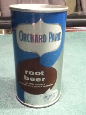Orchard Park Root Beer (1973). Silver background. Straight steel, pull top.