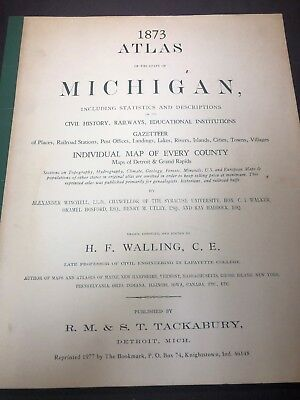1873 Atlas of The State of Michigan 1977 reprint map