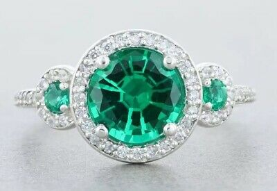 New Sterling Silver Lab Created Round Green Emerald Ring CZ Accents 2 1/6 CTW
