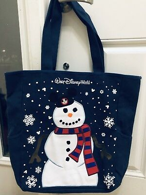 Disney Parks Walt Disney World Mickey Mouse Ears Snowman Holiday Tote Bag