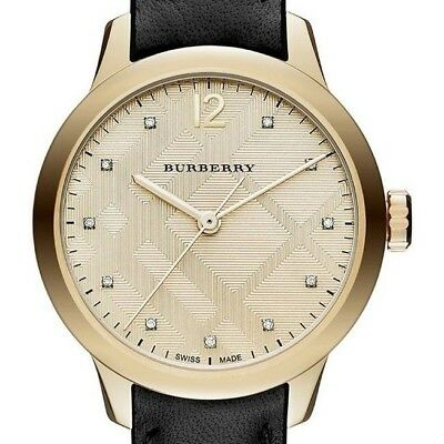 b299c684ba1a 100% NEW SWISS Made Burberry Diamond Accent Stainless Steel Ladies ...