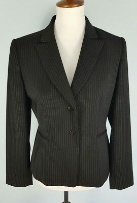 4dfc6b19082e0 Tahari Arthur S Levine Women's 6P Petite Pin Striped Black Career Blazer  Jacket