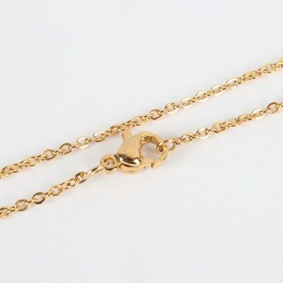 10 pc of 23.8 inches gold finish stainless steel cable link necklaces -S225