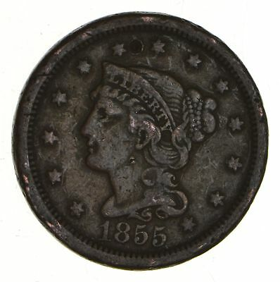 Tough - 1855 Large Cent - US Early Copper Coin *884