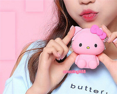 Adorable Soft Silicone Kitty Coin Purse Card Key Bag Wallet Charm Pendant
