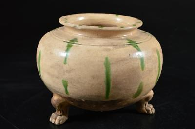 G4898: Japanese Pottery Green glaze Shapely FLOWER VASE Ikebana Tea Ceremony