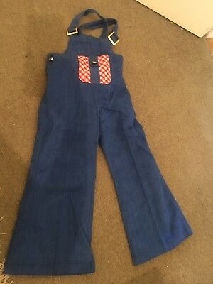 Vintage Kids Overalls Flares Dungarees Retro Boho Clothing Size 3 As New