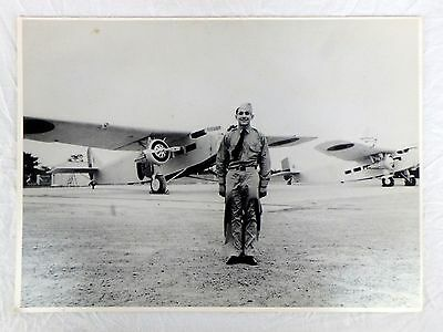 Raoul Castro of Montgomery Ward Aviation History Enlarged B&W Photo on Board