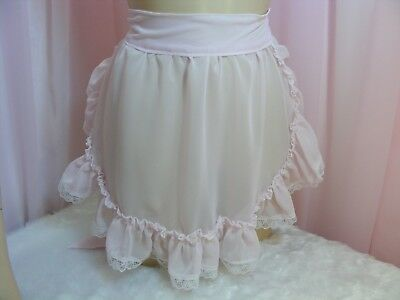adult baby sissy pink chiffon apron fancydress cosplay vintage french maid pinny