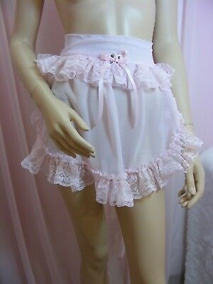 adult baby sissy pink chiffon apron fancydress cosplay french maid pinny vintage