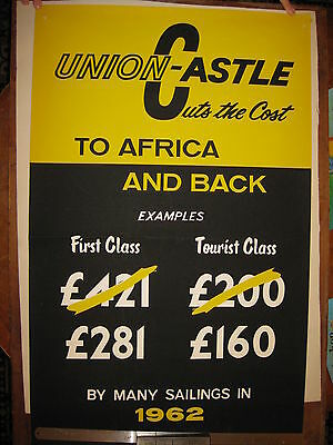 Union Castle original cruise liner travel agents poster from 1960s South Africa