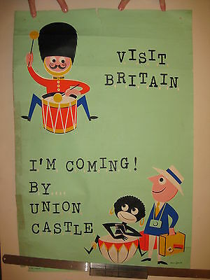Union Castle Liner cruise original travel agents poster from 1960s South Africa