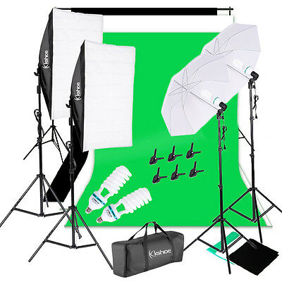 Photography 3pcs Backdrop 2x Softbox Umbrella Lighting Kit Background Stand Set