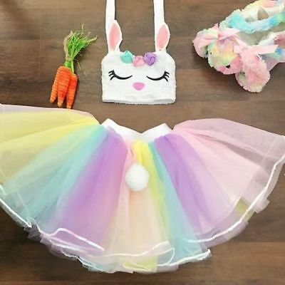 eaa1a96934bb Toddler Baby Girls Bunny Crop Top Tutu Tulle Skirt Outfits Clothes Summer  USA