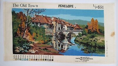 True Vintage Penelope Needlepoint Tapestry 'The Old Town' L/P 651 Completed