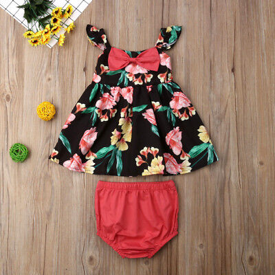 Newborn Toddler Baby Girl Flower Bow Tops Dress Shorts Pants 2PCS Outfit Sunsuit