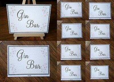 **A3/A4/A5 Gin Bar Sign 24 colours on ivory or white card available**