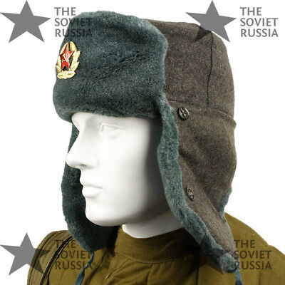 Genuine Russian Soviet Army Military Winter Fur Hat Wool Ushanka Surplus