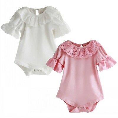 Newborn Toddler Baby Girl Lace Bodysuit One Piece Romper Jumpsuit Outfit Clothes