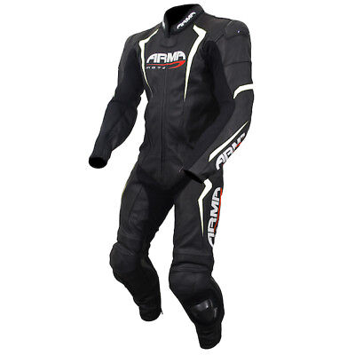Armr Harada S Motorcycle Motorbike Leather 1 One Piece Suit - Black / White