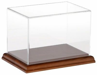 """Plymor Brand Clear Acrylic Display Case with Hardwood Base, 6"""" W x 4"""" D x... New"""