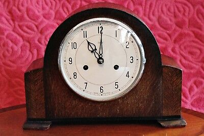 Vintage Art Deco 'Enfield' 14-Day Striking Mantel Clock