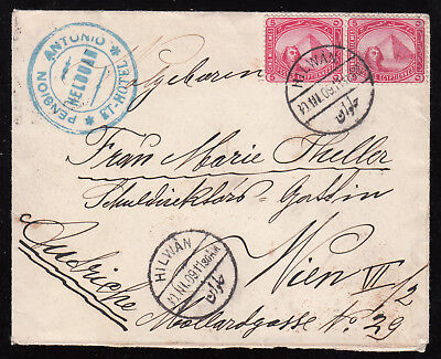 Egypt - Germany 1909 Used Cover From Helouan Pension Antonio To Vienna