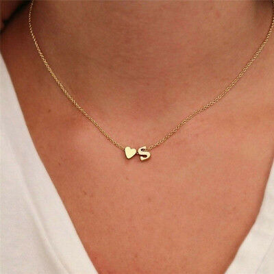26 Letters Women's Tiny Love Heart Collier Choker Necklace Pendant Lovers Gifts