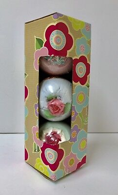 Bath Bombs Mixed 3 x In Gift Presentation Box Scented, Roses, Fizzing 160gr Each