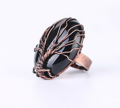 R193F Ring with Onyx Black Tree of Life Oval Antique Copper Adjustable Size