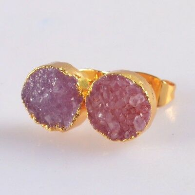 8mm Round Hot Pink Agate Druzy Geode Stud Earrings Gold Plated B076673