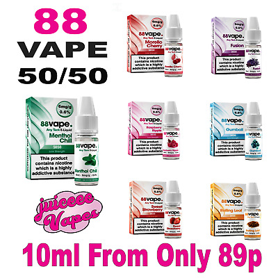 New 88 Vape AnyTank 50/50 PG/VG - 6MG - 10ml E-Liquid, Vape Juice, New Flavours.