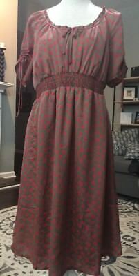 Womens Old Navy Maternity Dress Size Medium M Tan & Coral Super Cute Great Cond