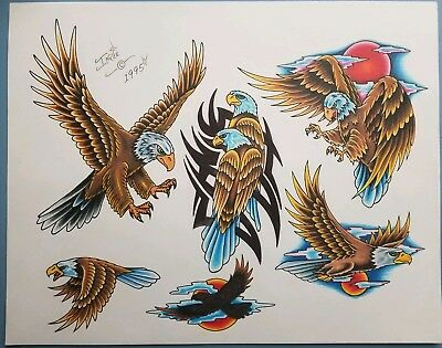 vintage 1995 original inkee tattoo flash eagle tribal eagles monk patriotic usa