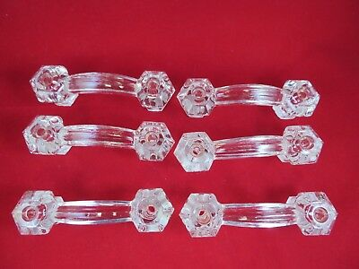 Lot Of 6 Vintage Clear Glass Drawer Pull Handle