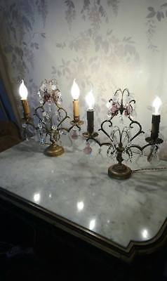 Antique french chandelier table lamps-Girandoles