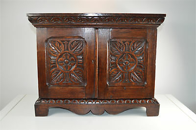 Antique Victorian carved oak collectors stationary cabinet with key circa.1890