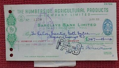1950, Cheque, The Railway Executive ( BARCLAYS BANK LIMITED ) Hull