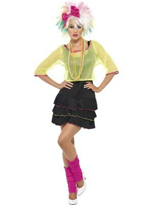 1980s Madonna Style Pop Tart Ladies Fancy Dress Womens Hen Party Costume Outfit