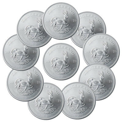 Lot of 10 2019 South Africa 1 oz Silver Krugerrand R1 Coins GEM BU SKU56937