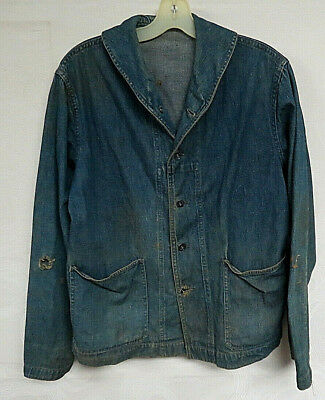 Vintage Wwii Denim Jacket Shawl Collar Usa Navy Military Rare Antique Buttons