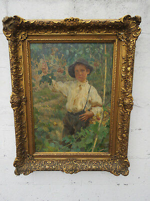 Boy Picking Fruit Apples Pears in Orchard Signed Framed Oil Painting 9422