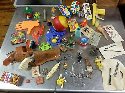53 Piece Lot of Vintage Five & Dime Store Toys, Tin Plastic Rubber Novelty Gag