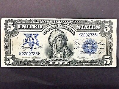 """1899 $5 Five Dollars """"Chief"""" Silver Certificate"""